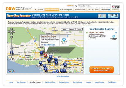 Map View of Dealer Inventory from New Car Locator on NewCars.com