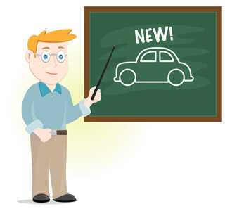 Illustration of man pointing at a chalkboard with 'New!' written on it